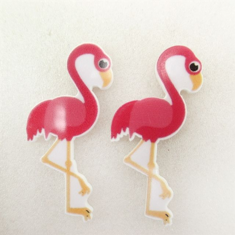 5 x 25mm PINK FLAMINGO LASER CUT FLAT BACK RESIN HEADBANDS BOWS CARD MAKING PLAQUES